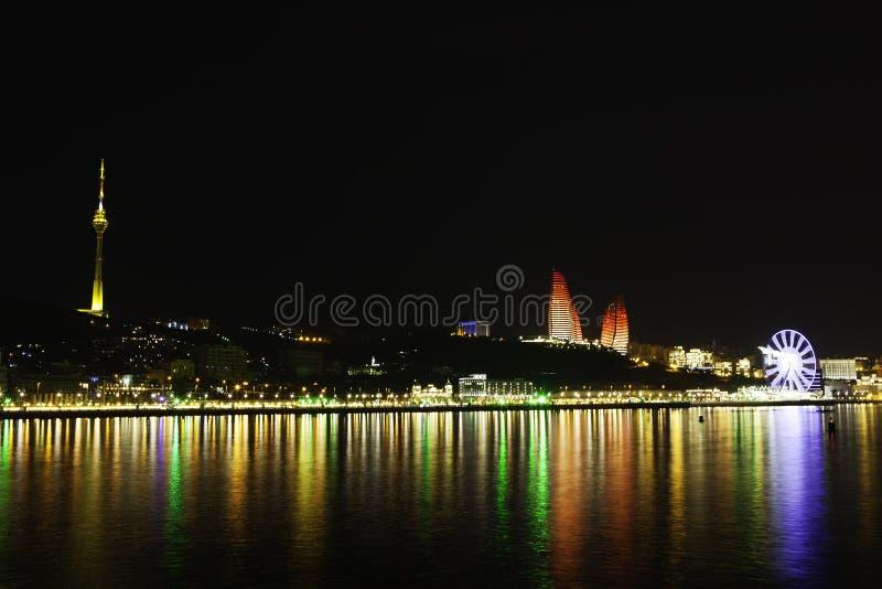 Baku panorama with highland park. Beautiful Baku panoramic view from highland park in Azerbaijan royalty free stock photos