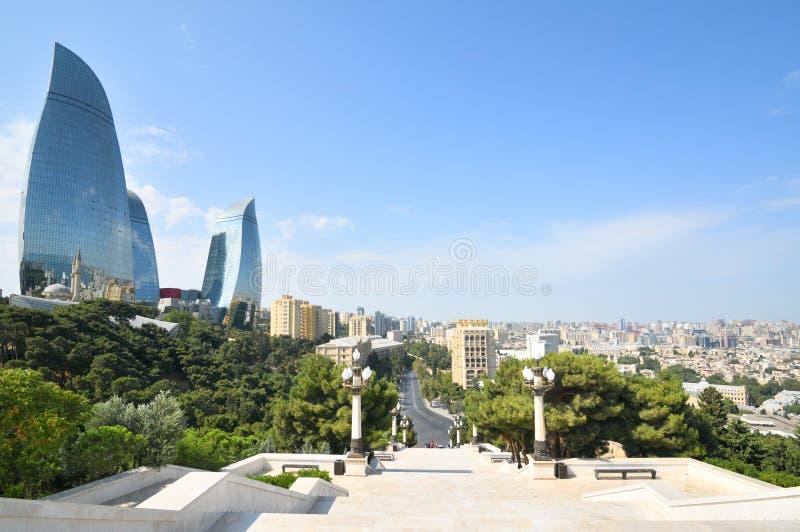 Baku, panoramiczny widok od halnego parka zdjęcie royalty free