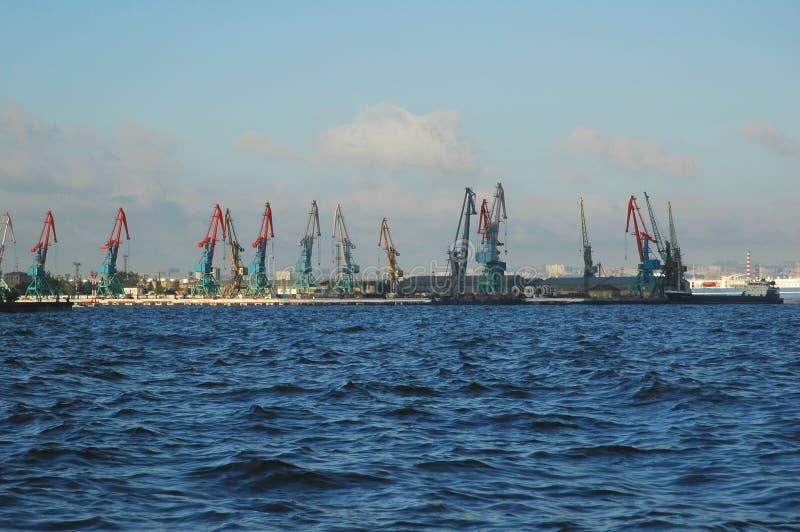 baku seaport royaltyfria bilder