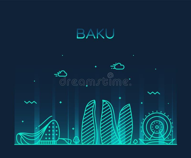 Baku skyline Azerbaijan vector city linear style stock illustration