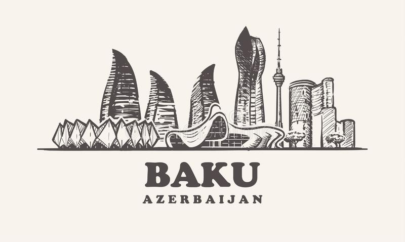 Baku skyline,Azerbaijan vintage vector illustration, hand drawn buildings. Of Baku on white background royalty free illustration
