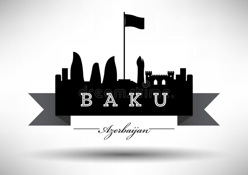 Baku Skyline with Typographic Design royalty free illustration