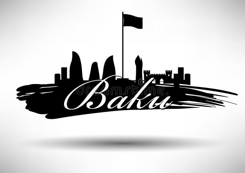 Baku Skyline with Typographic Design vector illustration