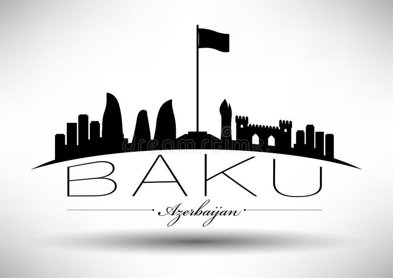 Baku Skyline with Typographic Design stock illustration