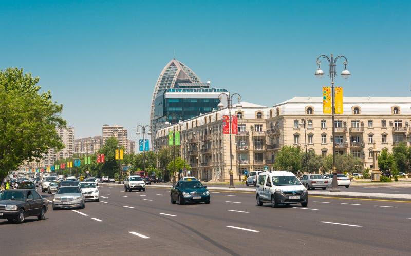 Baku stadsstraten royalty-vrije stock foto