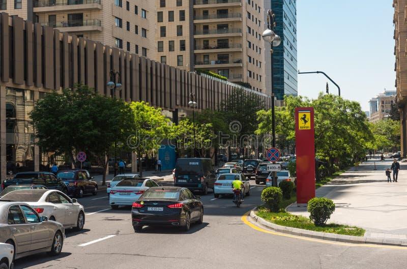 Baku stadsstraten stock afbeelding