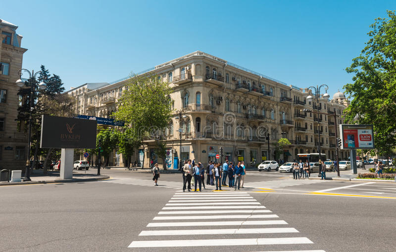Baku stadsstraten royalty-vrije stock fotografie