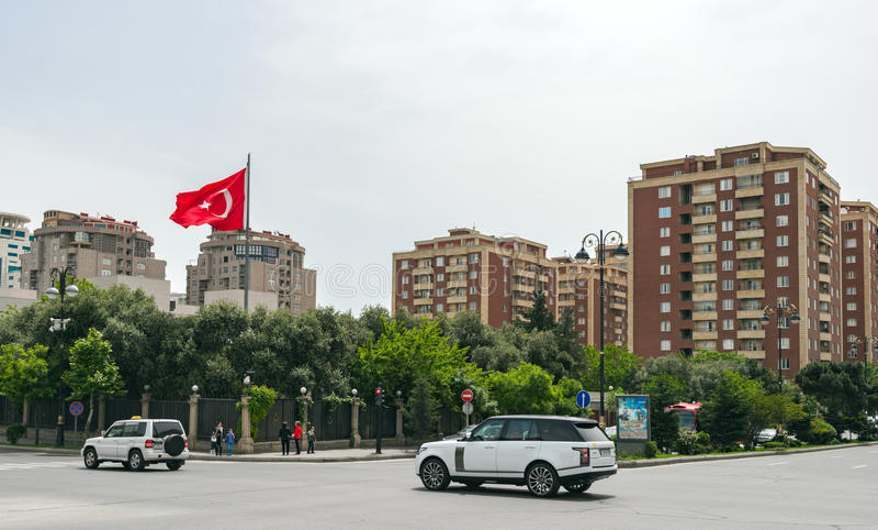Baku stadsstraten stock fotografie