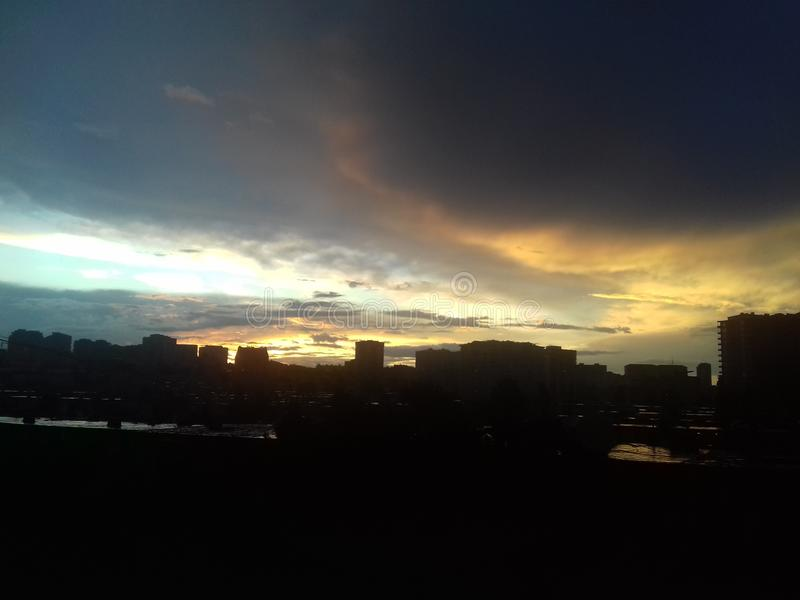 Baku. Sunset. stock photo