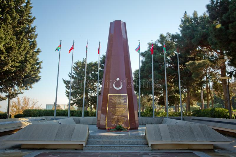Baku Turkish Martyrs` Memorial and cemetrary dedicated to the Ottoman soldiers killed during the World War I in stock photo