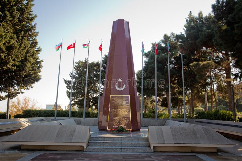 Baku Turkish Martyrs` Memorial and cemetrary dedicated to the Ottoman soldiers killed during the World War I in royalty free stock photo