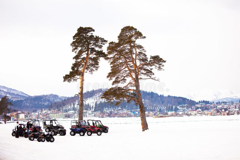 Bakuriani winter landscape view in cloudt day in january 2019, Georgia stock photography