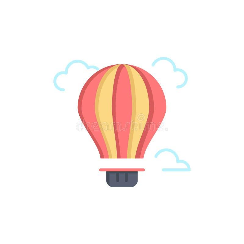 Balão, ar, ar, ícone liso quente da cor Molde da bandeira do ícone do vetor ilustração stock