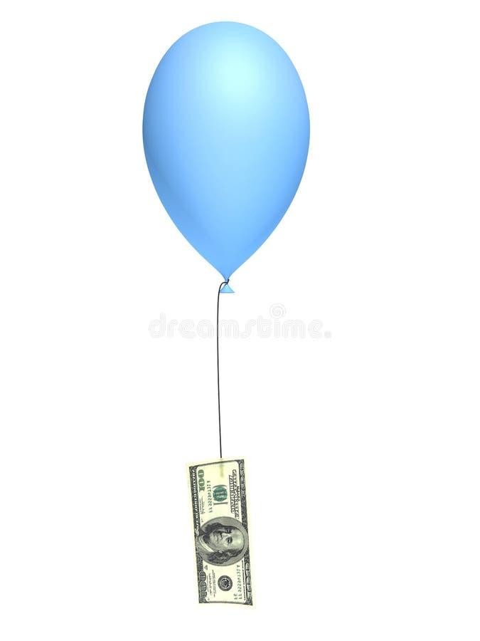 Balão azul e 100 dólares ilustração royalty free