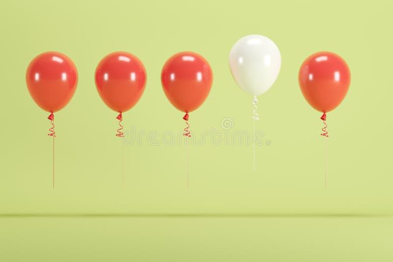 Balão branco proeminente que flutua entre balões vermelhos no fundo verde para o espaço da cópia foto de stock