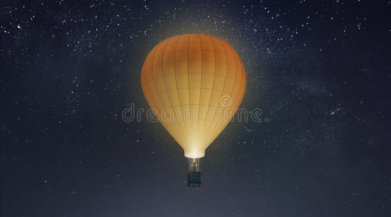 Balão branco vazio com o modelo do ar quente, fundo do céu noturno foto de stock