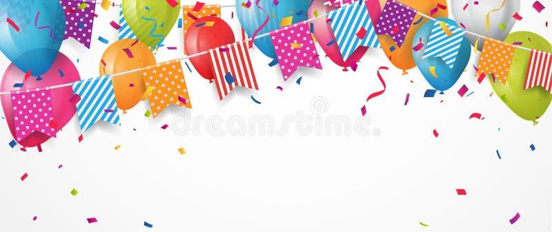Balão colorido do aniversário com bandeiras e confetes da estamenha