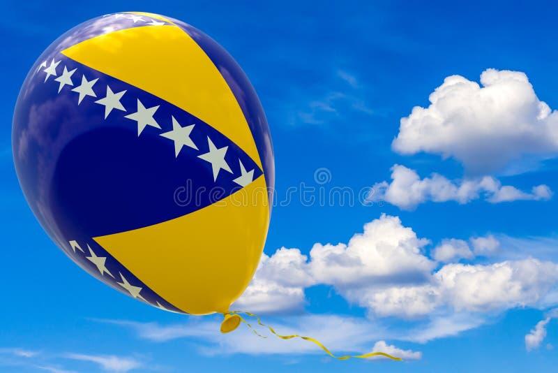 Balão com a imagem da bandeira do estado de Bósnia e de Herzegovina contra o céu azul fotografia de stock royalty free