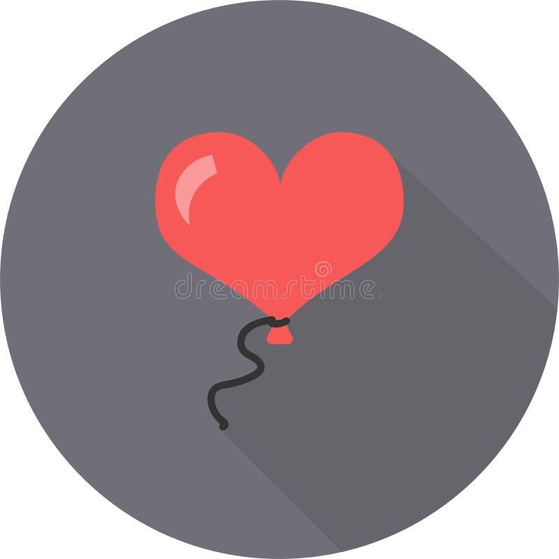 Balão cor-de-rosa em um ícone liso do dia do ` s do Valentim da corda na caixa redonda cinzenta com sombra fotos de stock royalty free