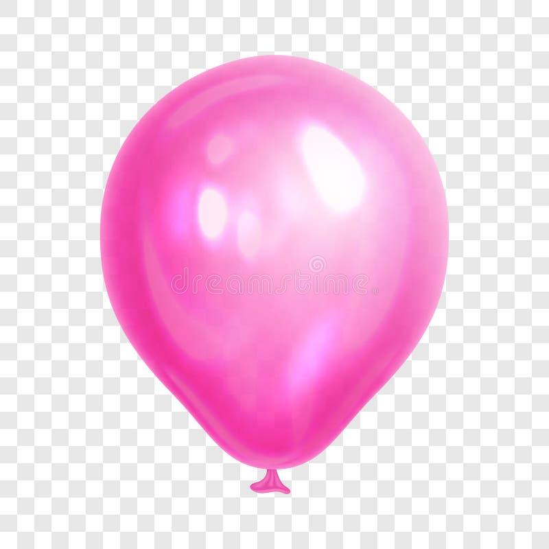 Balão cor-de-rosa realístico, no fundo transparente ilustração do vetor