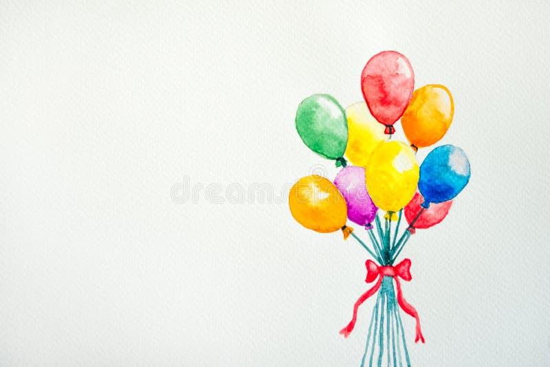 balão da aquarela fotografia de stock royalty free