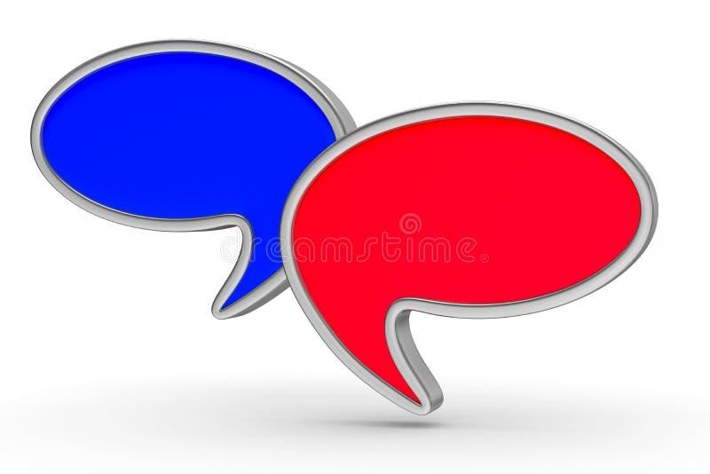 Balão da conversa no fundo branco Ilustração 3d isolada ilustração do vetor