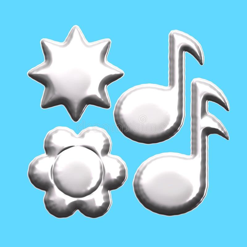 Balão da flor da estrela da nota musical de folha de prata ilustração royalty free