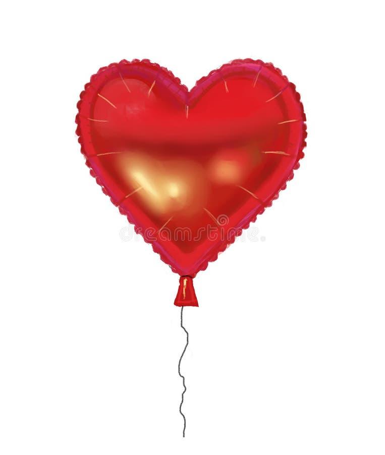 Balão dado forma coração da folha ilustração stock