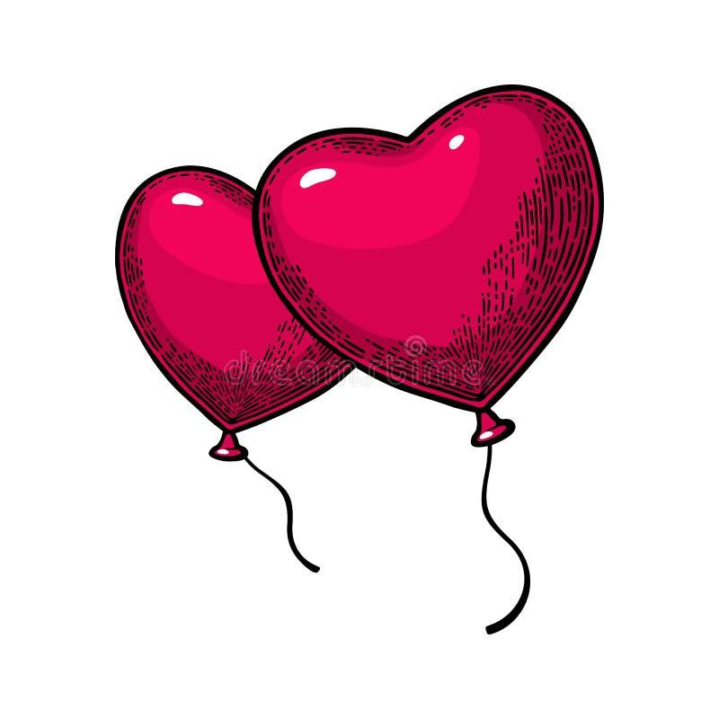 Balão dado forma coração Engrav do vintage da cor do vetor ilustração do vetor