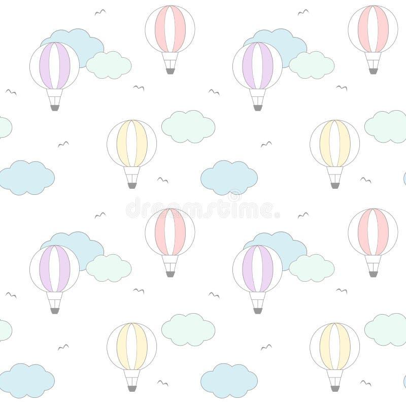 Balão de ar colorido dos desenhos animados bonitos na ilustração sem emenda do fundo do teste padrão do céu ilustração royalty free