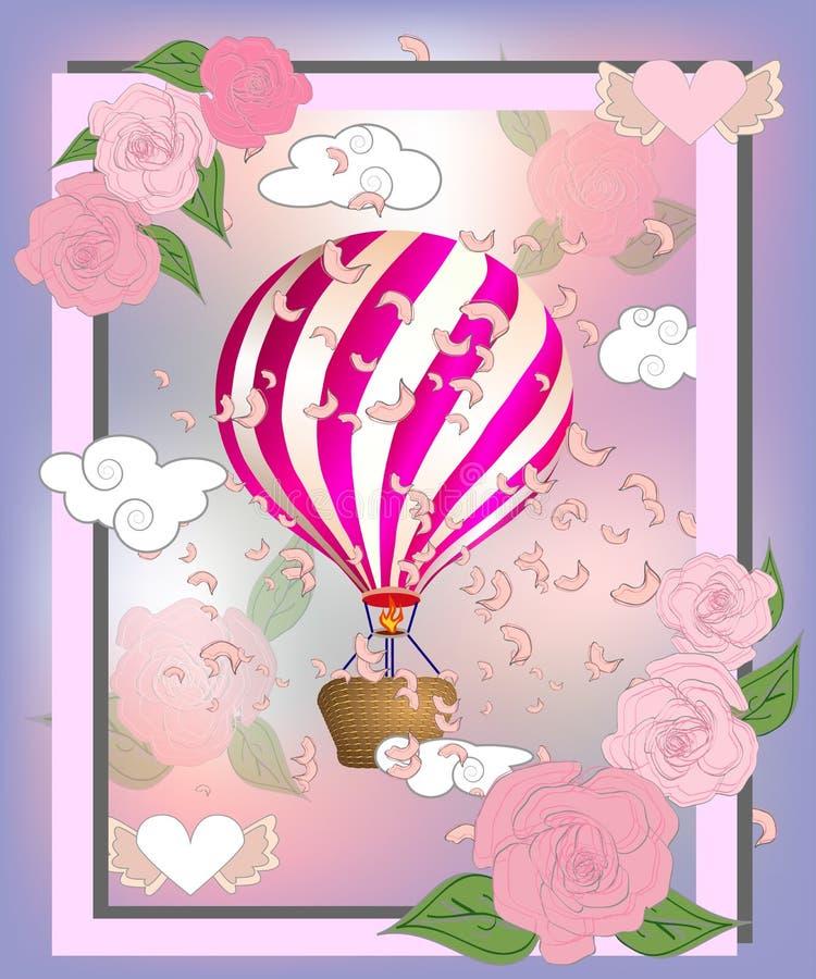 Balão de ar com as rosas na cesta e fita com assinatura eu amo-o realmente ilustração do dia de Valentim ilustração royalty free