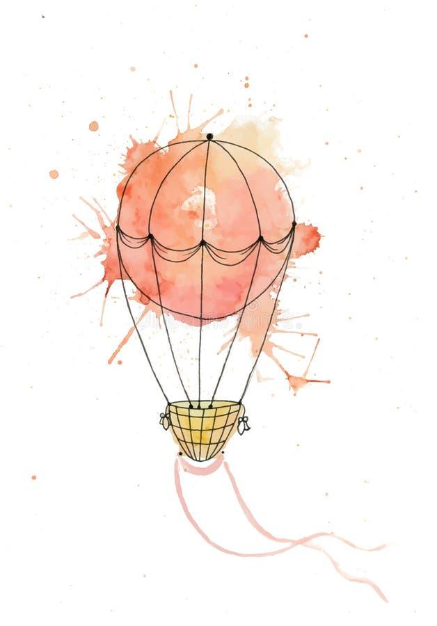 Balão de ar do vetor da aquarela ilustração do vetor