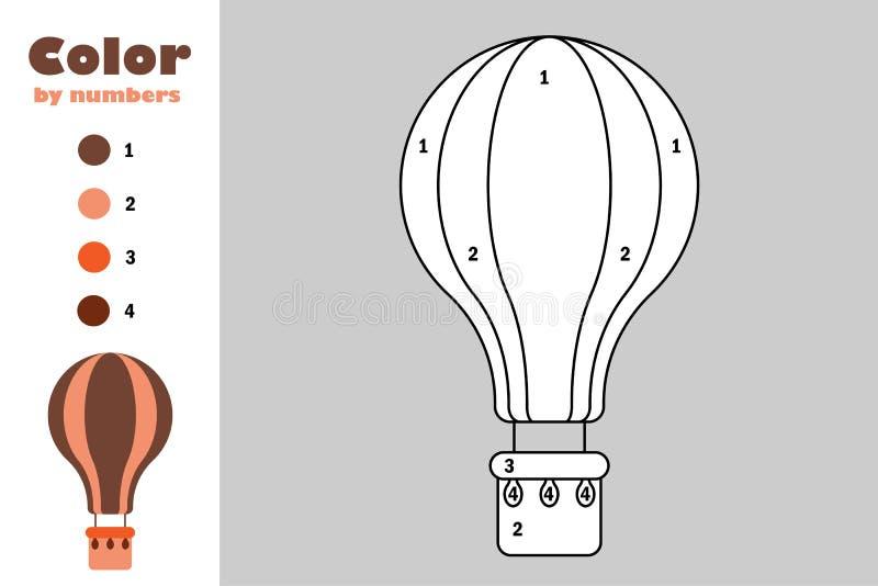 Balão de ar no estilo dos desenhos animados, cor pelo número, jogo do papel da educação para o desenvolvimento das crianças, pági ilustração do vetor