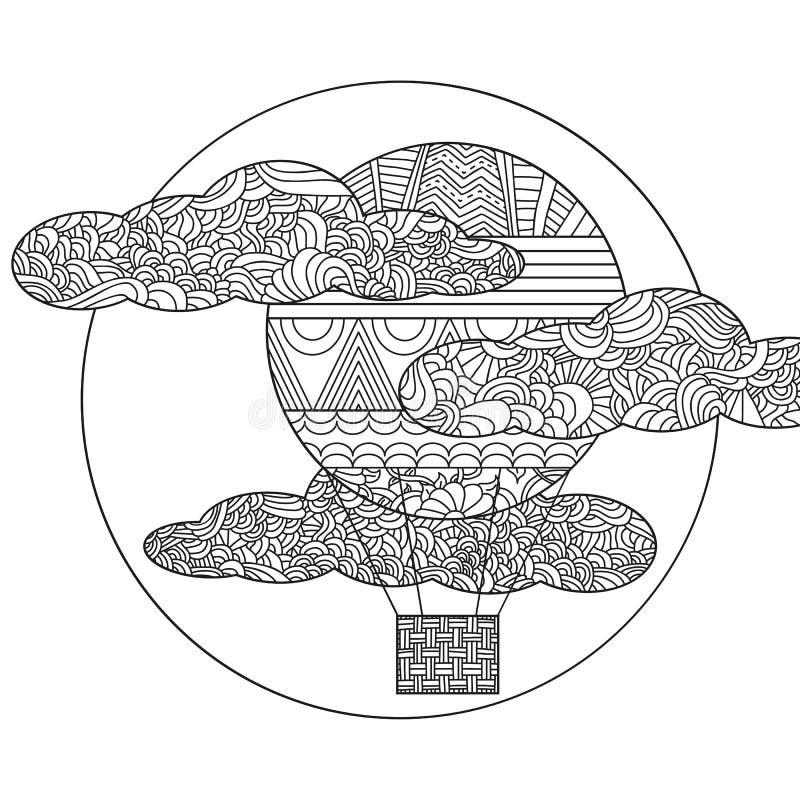 Balão de ar original da garatuja ilustração stock