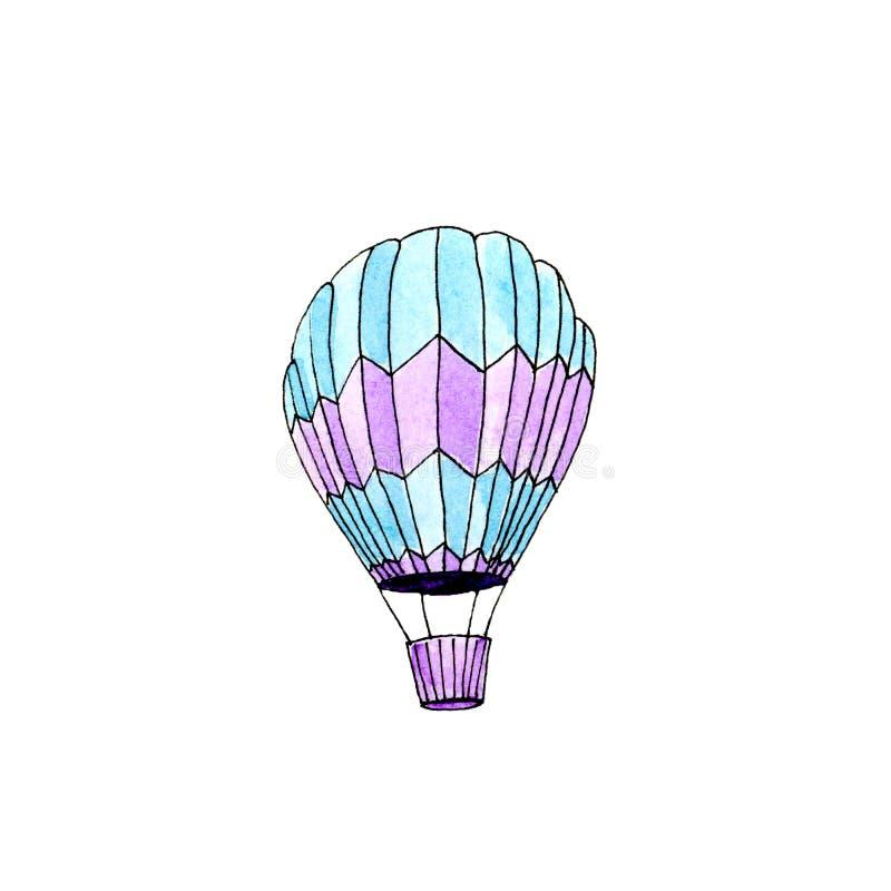 Balão de ar quente azul isolado aquarela ilustração stock