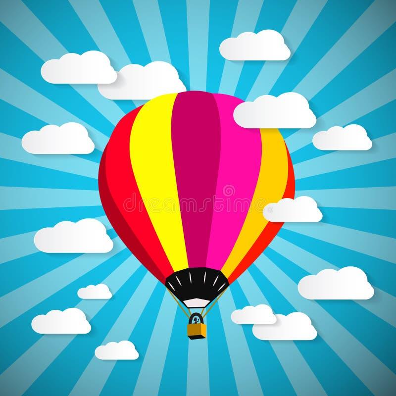 Balão de ar quente colorido no céu azul com nuvens de papel ilustração royalty free