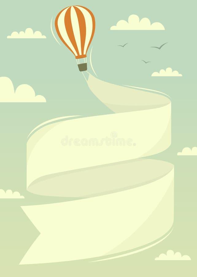 Balão de ar quente com bandeira ilustração do vetor