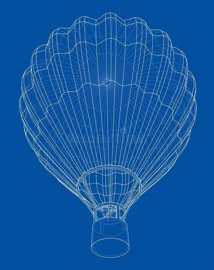 Balão de ar quente do esboço ilustração royalty free