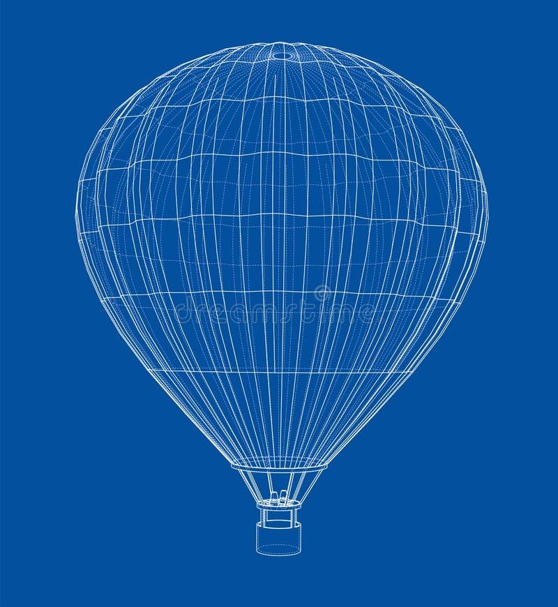 Balão de ar quente do esboço ilustração do vetor