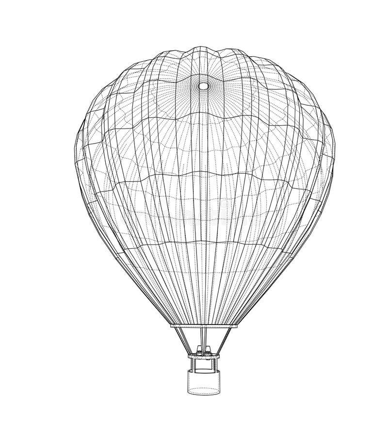 Balão de ar quente do esboço ilustração stock