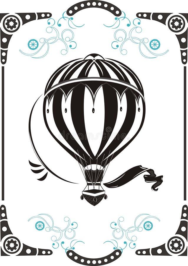 Balão de ar quente do vintage ilustração stock