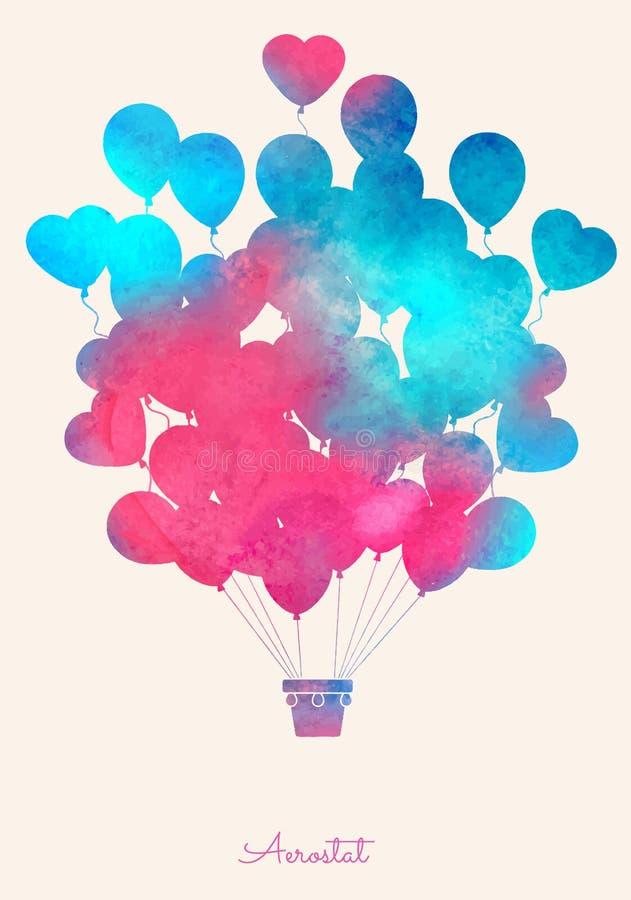 Balão de ar quente do vintage da aquarela Fundo festivo da celebração com balões ilustração do vetor