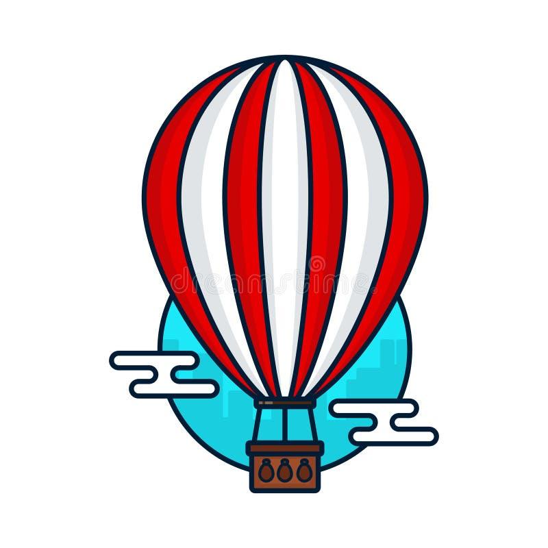 Balão de ar quente do vintage Vetor moderno ilustração do vetor