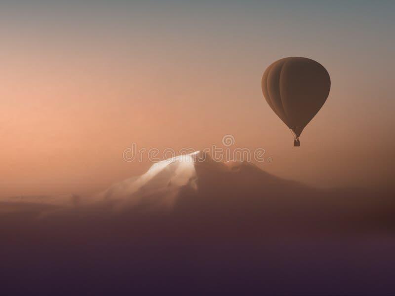 Balão de ar quente ideal da viagem que flutua sobre as montanhas fotografia de stock royalty free