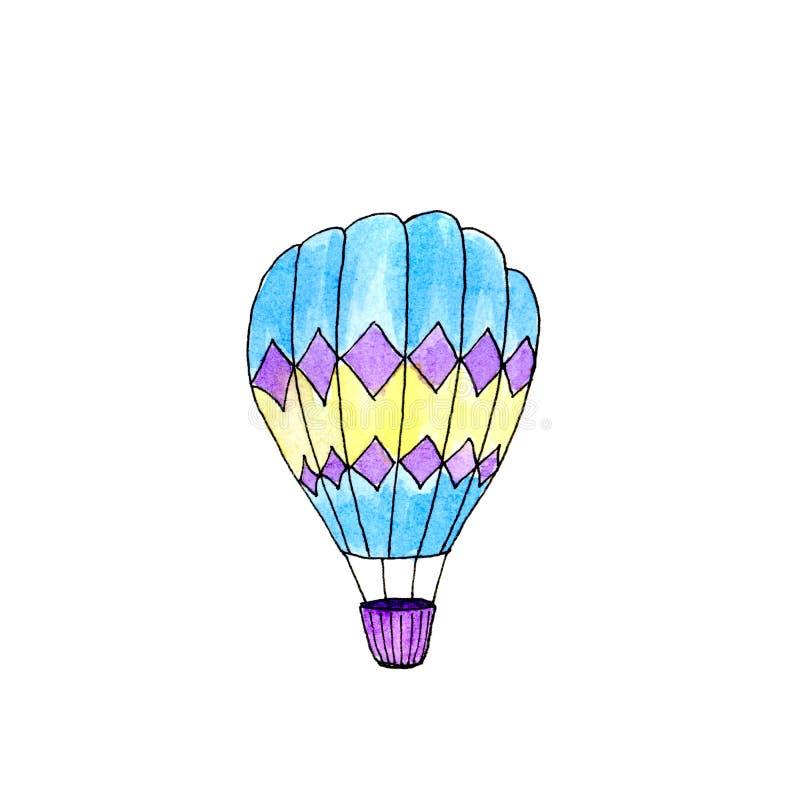 Bal?o de ar quente isolado aquarela azul e amarelo ilustração do vetor