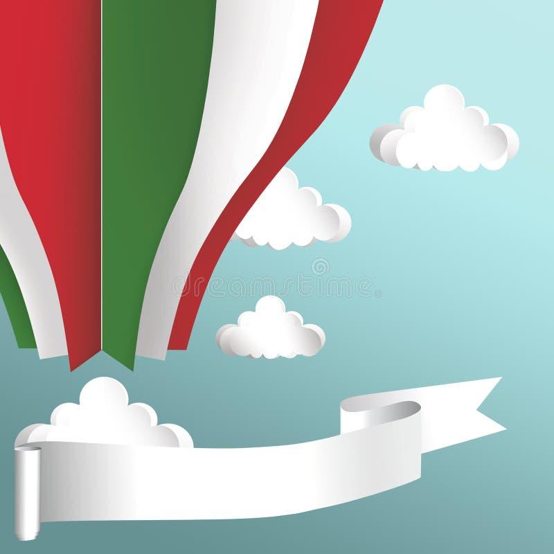 Balão de ar quente nas cores da bandeira de Itália imagem de stock royalty free