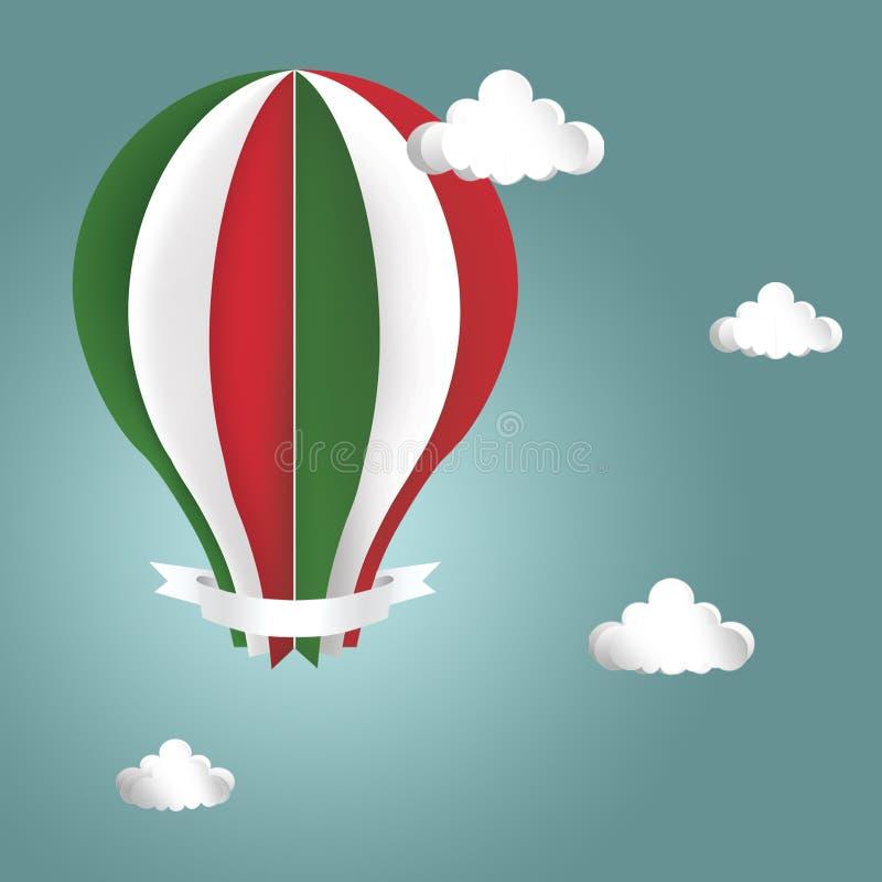 Balão de ar quente nas cores da bandeira de Itália imagens de stock royalty free