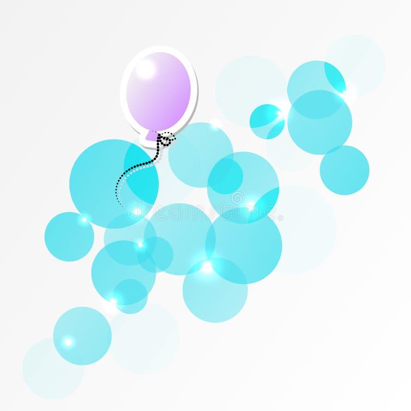 Balão de ar quente no vetor das nuvens ilustração stock