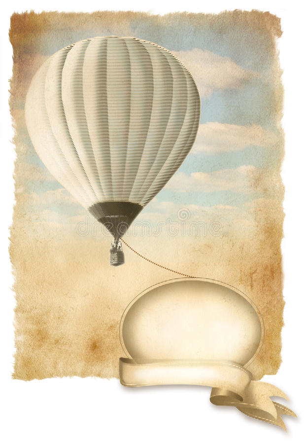 Balão de ar quente retro no céu com bandeira, textura de papel velha do fundo. ilustração do vetor