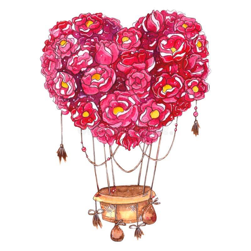 Balão de ar quente tirado mão da aquarela com coração das flores ilustração stock